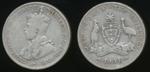 World Coins - Australia, 1931 Florin, 2/-, George V (Silver) - Very Good