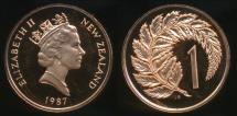 World Coins - New Zealand, 1987 One Cent, 1c, Elizabeth II - Proof