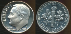 World Coins - United States, 1980-S Dime, Roosevelt - Proof
