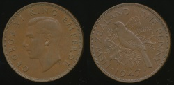 World Coins - New Zealand, 1947 One Penny, 1d, George VI - Very Fine