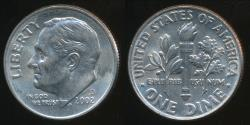 World Coins - United States, 2002-D Dime, Roosevelt - Uncirculated