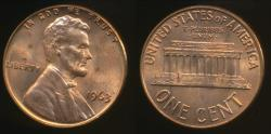 World Coins - United States, 1963 One Cent, 1c, Lincoln Memorial - Uncirculated