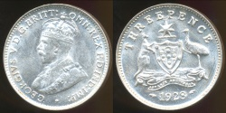 World Coins - Australia, 1928 Threepence, 3d, George V (Silver) - Uncirculated