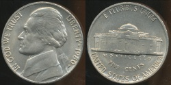 World Coins - United States, 1980-P 5 Cents, Jefferson Nickel - Uncirculated