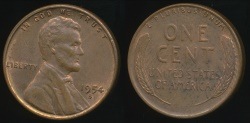 World Coins - United States, 1954-S One Cent, 1c, Lincoln Wheat - Uncirculated