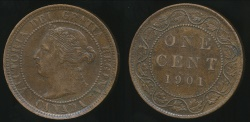World Coins - Canada, Confederation, 1901 Cent, Victoria - Extra Fine