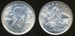 World Coins - Australia, 1962 Sixpence, 6d, Elizabeth II (Silver) - Uncirculated