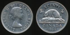 World Coins - Canada, Confederation, 1964 5 Cents, Elizabeth II - Very Fine