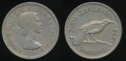 World Coins - New Zealand, 1958 Sixpence, 6d, Elizabeth II - Very Fine