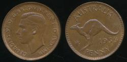 World Coins - Australia, 1938 One Penny, 1d, George VI - Uncirculated