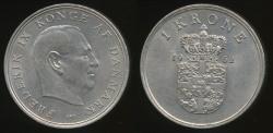 World Coins - Denmark, Kingdom, Frederik IX, 1962 1 Krone - Extra Fine