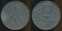 World Coins - Denmark, Kingdom, Christian X, 1942 2 Ore, lamination Error - Extra Fine