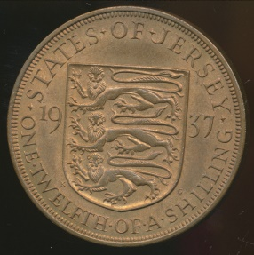 World Coins - Jersey, British Dependency, George VI, 1937 1/12 Shilling - Uncirculated