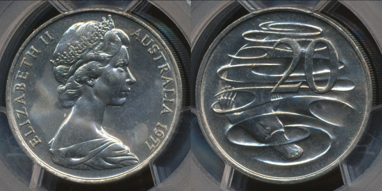 World Coins - Australia, 1977 Twenty Cents, 20c, Elizabeth II - PCGS MS66