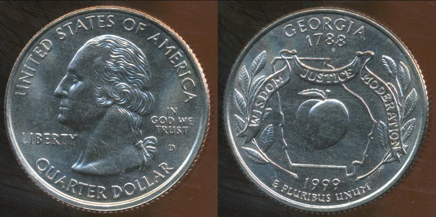 World Coins - United States, 1999-D Quarter Dollar, Washington (State - Georgia) - Uncirculated