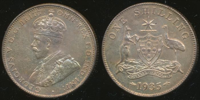 World Coins - AUSTRALIA - 1935 Shilling, George V - Unc