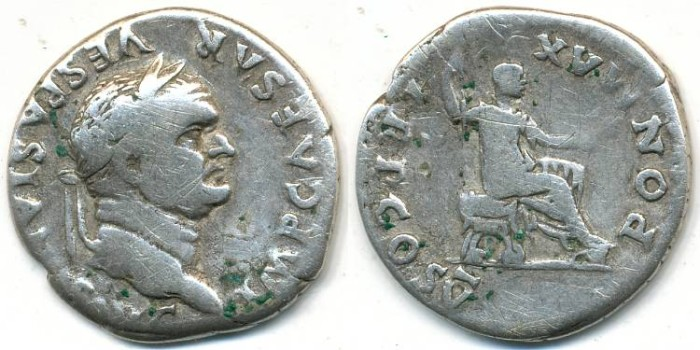Ancient Coins - VESPASIAN, AR Denarius, AD 69-79, Rome mint, Struck 74 AD, (20mm, 3.20 gm) - RIC 702