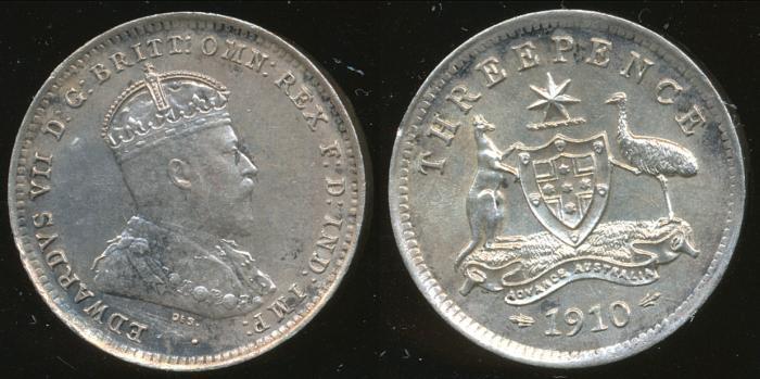 World Coins - AUSTRALIA - 1910 Threepence, Edward VII - Ch-Unc