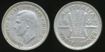 World Coins - Australia, 1943(m) Threepence, 3d, George VI (Silver) - Very Fine