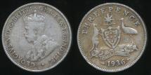 World Coins - Australia, 1936 Threepence, 3d, George V (Silver) - Very Good