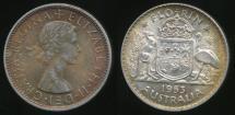 World Coins - Australia, 1953 Florin, 2/-, Elizabeth II (Silver) - almost Uncirculated