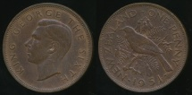 World Coins - New Zealand, 1951 One Penny, 1d, George VI - Very Fine