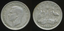World Coins - Australia, 1948 Sixpence, 6d, George VI (Silver) - Very Good