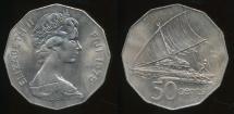 Fiji, Republic, 1975 50 Cents, Elizabeth II - Uncirculated