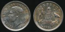 World Coins - Australia, 1951(pl) Sixpence, 6d, George VI (Silver) - Uncirculated