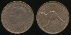World Coins - Australia, 1951(pl) One Penny, 1d, George VI - almost Uncirculated