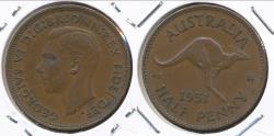 World Coins - Australia, 1951(pl) Halfpenny, 1/2d, George VI - Extra Fine