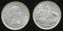 World Coins - Australia, 1963 Sixpence, 6d, Elizabeth II (Silver) - Very Fine
