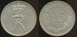 World Coins - Denmark, Kingdom, Frederik IX, 1965 25 Ore - Uncirculated