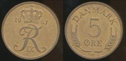 World Coins - Denmark, Kingdom, Frederik IX, 1967 5 Ore - Uncirculated