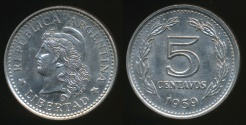 World Coins - Argentina, Republic, 1959 5 Centavos - Uncirculated