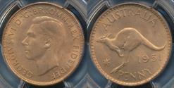 World Coins - Australia, 1951(pl) One Penny, 1d, George VI - PCGS MS64+RD (Ch-Unc)