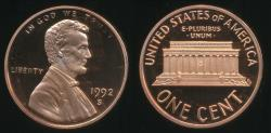 World Coins - United States, 1992-S One Cent, 1c, Lincoln Memorial - Proof