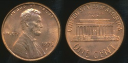 World Coins - United States, 1973-D One Cent, Lincoln Memorial - Uncirculated