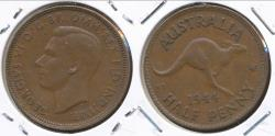 World Coins - Australia, 1944(m) Halfpenny, 1/2d, George VI - Very Fine