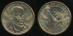 World Coins - United States, 2009-D James K. Polk Presidential Dollar, $1 - Uncirculated