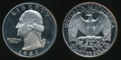 World Coins - United States, 1987-S Quarter, 1/4 Dollar, Washington - Proof