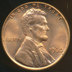 World Coins - United States, 1960 One Cent, Lincoln Memorial (Large Date) - Uncirculated