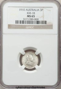 Ancient Coins - AUSTRALIA - 1910, Threepence, Edward VII - NGC MS65