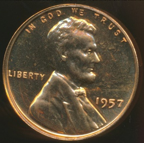World Coins - United States, 1957 One Cent, Lincoln Wheat - Proof