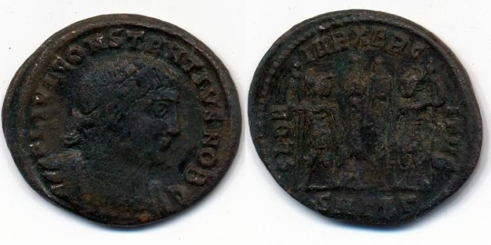 Ancient Coins - CONSTANTIUS II, AE-3, AD 337-361, Thessalonica mint, (19mm, 2.53 g) - RIC VII 185