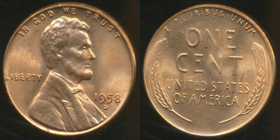 United States, 1958-D One Cent, Lincoln Wheat - Uncirculated