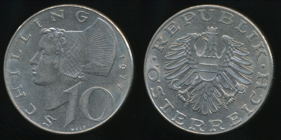 World Coins - Austria, Republic, 1977 10 Schilling - almost Uncirculated