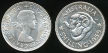 World Coins - Australia, 1959 One Shilling, 1/-, Elizabeth II (Silver) - Uncirculated