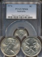 World Coins - Australia, 1974 Canberra 5 Cent, Elizabeth II - PCGS MS66