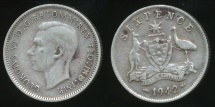 World Coins - Australia, 1942(m) Sixpence, 6d, George VI (Silver) - Very Good